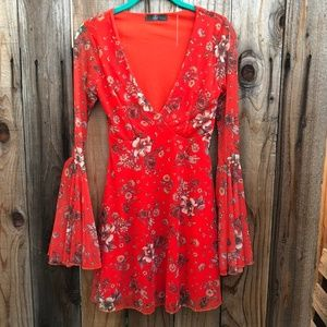 Missguided Dresses - Missguided Red Floral Fit & Flare V-Neck Dress
